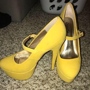 Qupid yellow heels